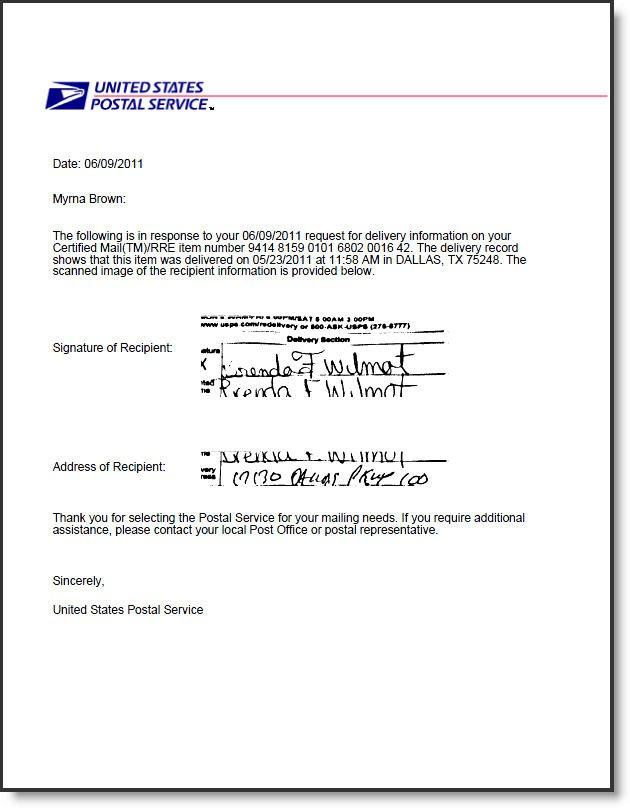 Return Receipt Electronic USPS Certified Mail